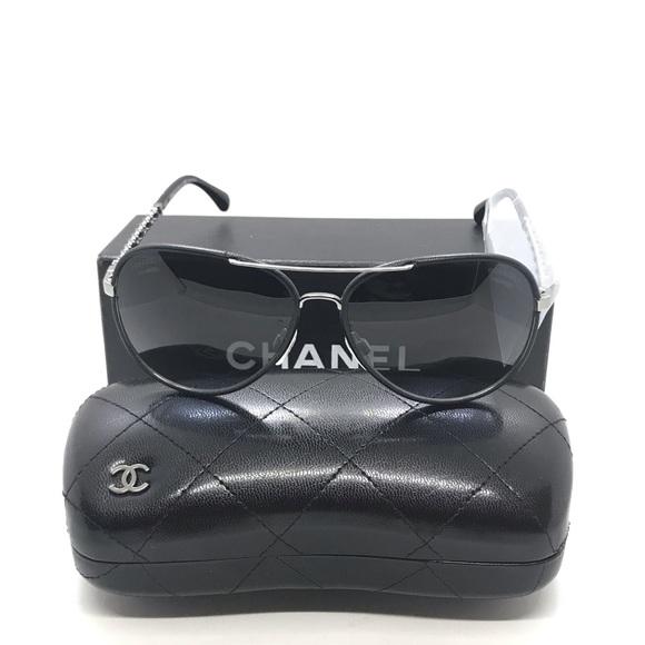 c69863e5e CHANEL Accessories | 4219q Metal Black Calfskin Sunglasses | Poshmark
